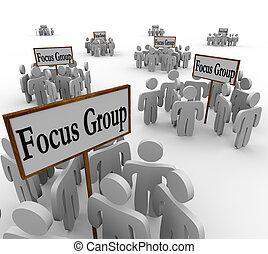 många, fokusera, grupper, folk, möte, undertecknar, nisch, kunder