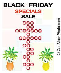 många, fredag, försäljning, produkter, svart, speciell