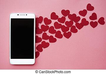 många, hjärtan, och, smartphone., begrepp, till, lik, in, social, knyter kontakt, eller, datering, app., rosa bakgrund