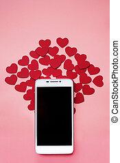 många, hjärtan, och, smartphone., den, begrepp, till, lik, in, social, knyter kontakt, eller, datering, app., rosa bakgrund
