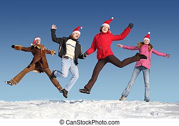 många, hoppning, folk, på, snö