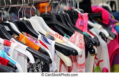 många, kläder, till salu, hos, årgång, marknaden