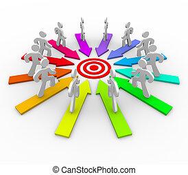 många, konkurrera, för, samma, mål, -, måltavla