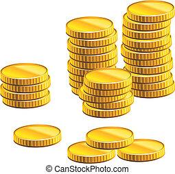 många, mynter, guld