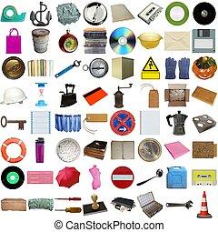 många, objekt, isolerat
