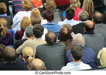 många, sittande, folk, bak