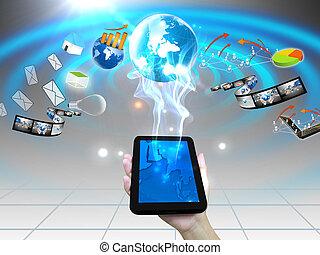 många, smartphone, idé