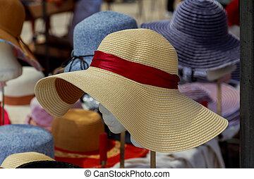 många, sommar hattar, in, den, marknaden