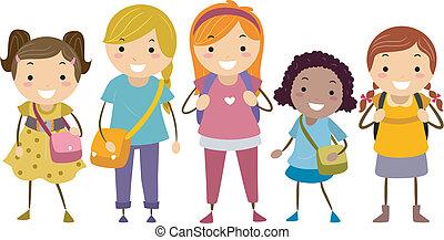 mångfald, ålder, flickor