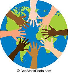 mångfald, över, värld