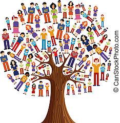 mångfald, bildpunkt, mänsklig, träd