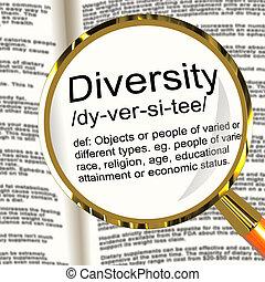 mångfald, definition, förstoringsapparat, visar, olik,...