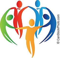 mångfald, folk, logo