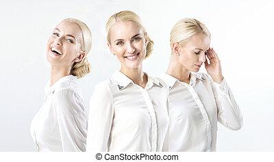 mångfald, humör, affärskvinna, happy/bad, blond, stående