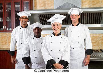 mångfald, kock, grupp