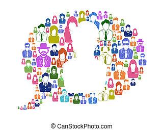mångfald, kommunikation, anförande, bubbla