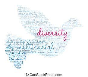 mångfald, ord, moln