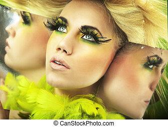 mångfald, stående, av, a, nätt, blondin