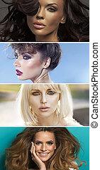 mångfald, stående, av, fyra, sensuell, kvinnor