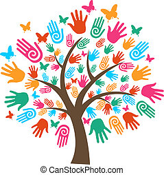 mångfald, träd, isolerat, räcker