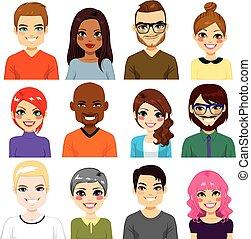 mångfaldig, avatar, kollektion