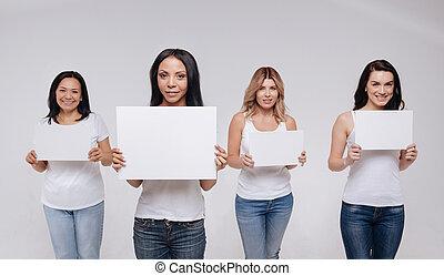 mångfaldig, bedöva, kvinnor, arbeta, på, photoshoot