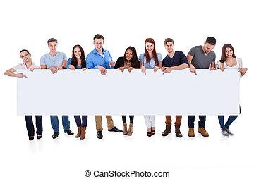 mångfaldig, folk grupp, presenterande, baner