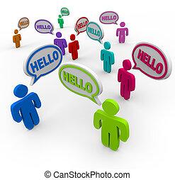 mångfaldig, folk, ordstäv, hej, hälsning, in, anförande, bubblar