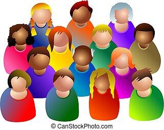 mångfaldig, gemenskap