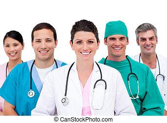 mångfaldig, läkar lag, in, sjukhus