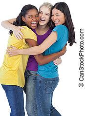 mångfaldig, skratta, kvinnor, omfamna, varandra