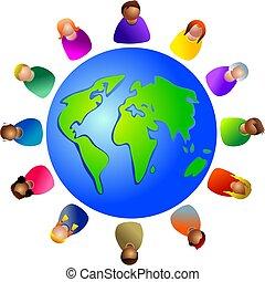 mångfaldig, värld