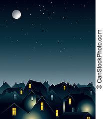 månsken, över, taktoppar