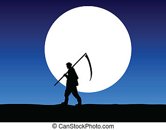 månsken, arbete, går, bonde