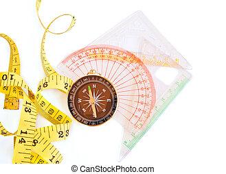 mått, tejpa, kompass, linjal, vita, bakgrund
