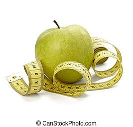 mått, tejpa, skräddare, kost, fitness, äpple, frukt, mat,...