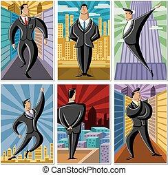 mænd, cartoon, firma