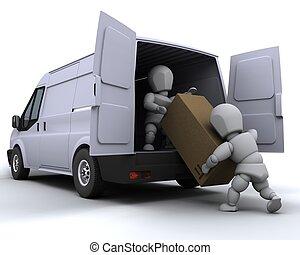 mænd flytning, lastning, en, godsvognen