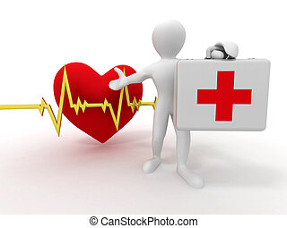 mænd, hos, medicinsk, sag, og, hjerteslag
