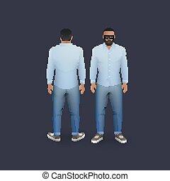 mænd, ind, jeans, og, skjorte