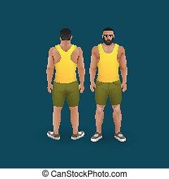 mænd, ind, shorts, og, singlet