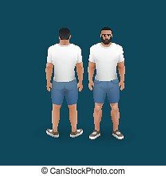 mænd, ind, shorts, og, t-shirt