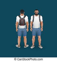 mænd, slide, shorts, og, t-shirt