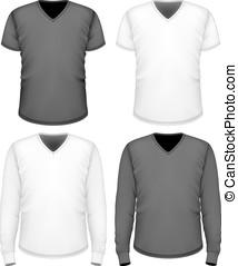 mænd, v-neck, sleeve., t-shirt, kort, længe
