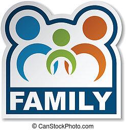 mærkaten, vektor, indtrådte, familie, folk