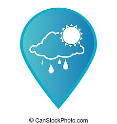 mærke, ikon, pegepind, gps, hos, silhuet, regnfulde, sky, og, sol, ikon