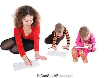 mère, 2, dessin, enfants