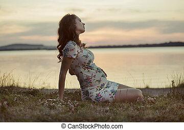 mère, adorbale, lac, reposer