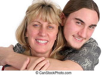 &, mère, affection, fils