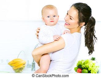 mère bébé, ensemble., être régime, concept., manger sain